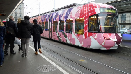 One of the more colorful trams in Zurich.