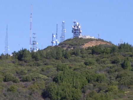 Transmission towers are located on just about every mountaintop, as with Loma Prieta.