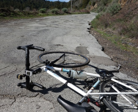 Eureka Canyon Road near the summit. Could this be the most patched road in Santa Cruz County?