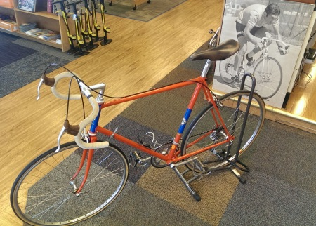 A bike owned and ridden by Eddy Merckx is on display at the Bicycle Outfitter.