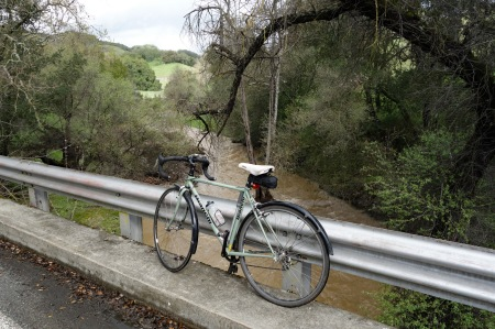 Muddy Llagas Creek flows into Chesbro Reservoir.