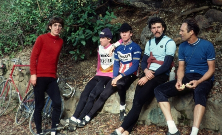 Loma Prieta Road at the water fountain, March 1984. Ray Hosler, Dave McLaughlin, Sterling McBride, Tom Ritchey, Jobst Brandt. One of our favorite rides. (Photo by Keith Vierra)
