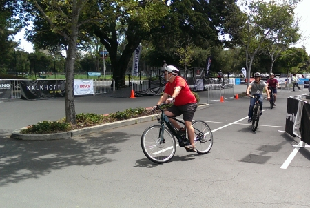 People try out ebikes at the Expo held in Palo Alto.