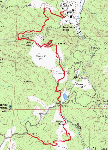 Recommended route to New Idria from summit.