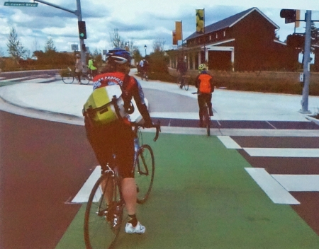 Davis re-built a busy intersection especially with bikes in mind.