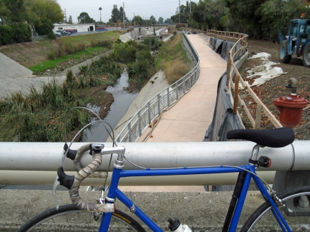 San Tomas Creek Trail in 2009 prior to opening. Bike commuters could hardly wait.