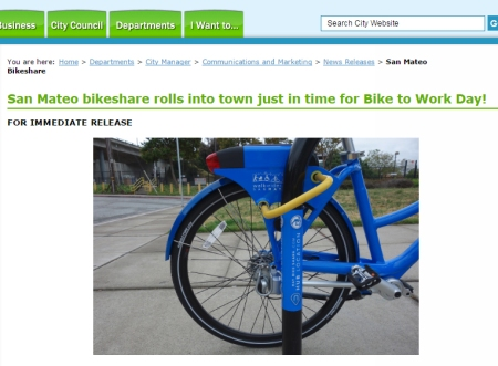 The city of San Mateo has a bike share program.