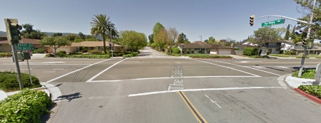The signal at The Dalles Ave.  and Mary Ave. in Sunnyvale has been adjusted for bikes so that it's a short wait. (Google Maps photo)