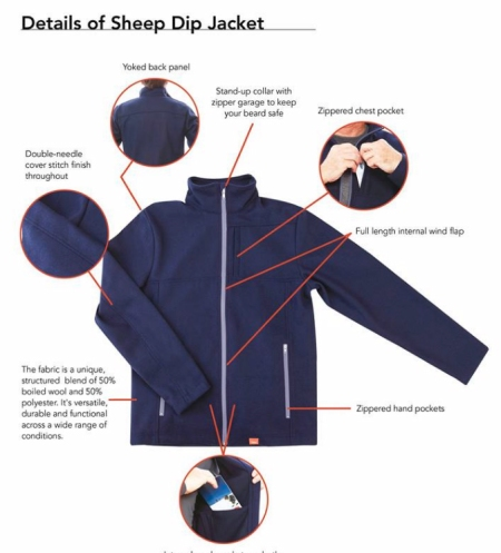 I purchased the Sheep Dip jacket. Other garments are available.