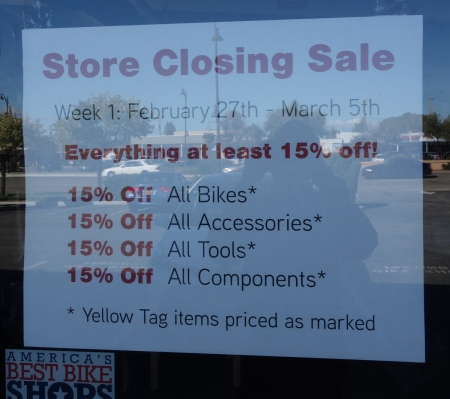Calmar Cycles is selling all its inventory as it closes down.