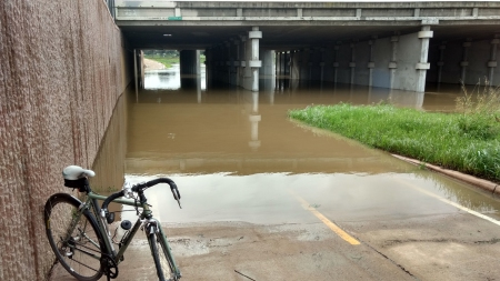 Flooding has blocked the Guadalupe River Trail at Hwy 237.