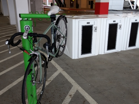 Valley Fair's new parking garage off Monroe has bicycle amenities.